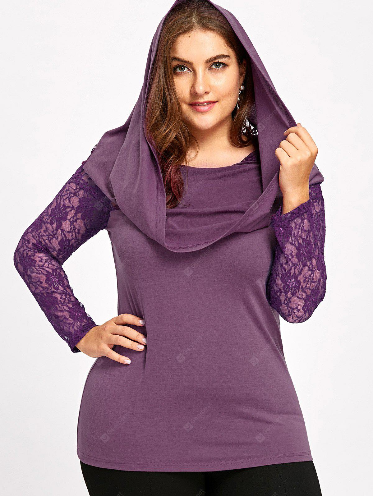 Plus Size Lace Insert Hoodie