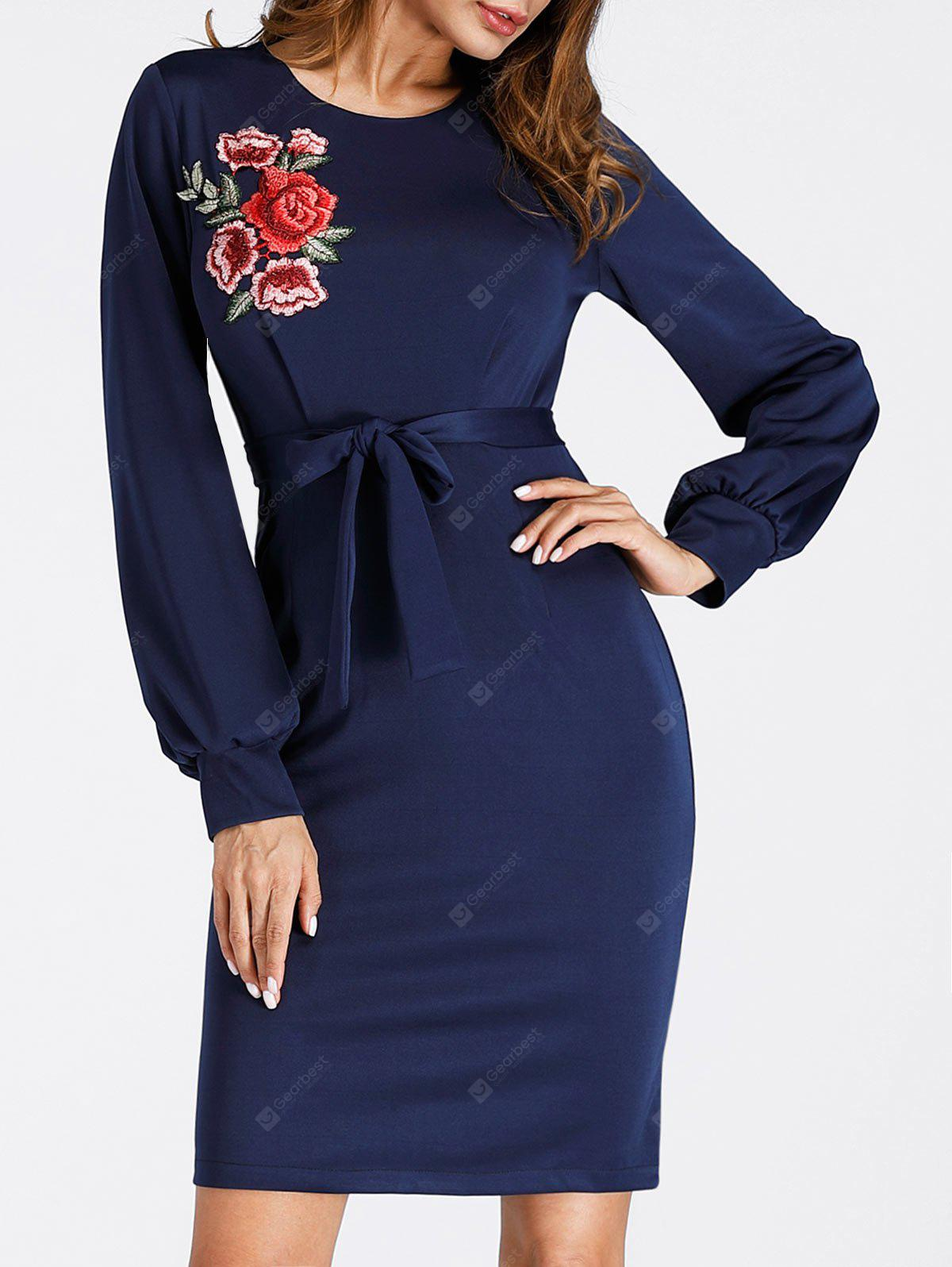 Puff Sleeve Embroidered Mini Bodycon Dress