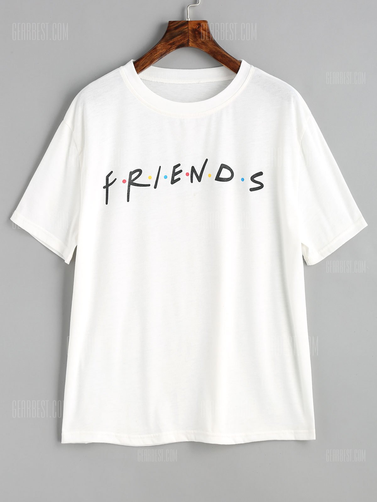 Letter Contrasting Dots T Shirt