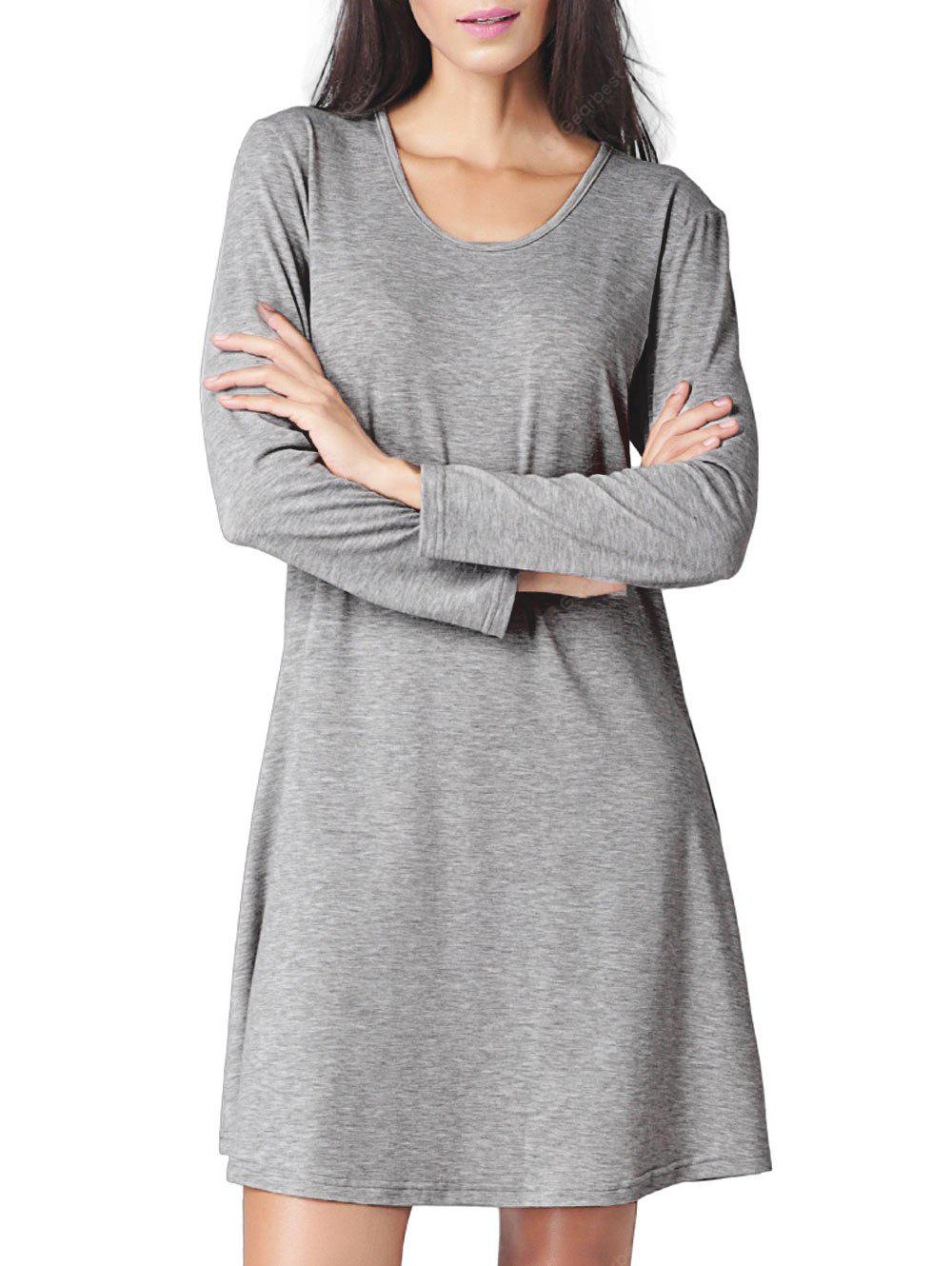 Cut Out Long Sleeve Mini T-shirt Dress