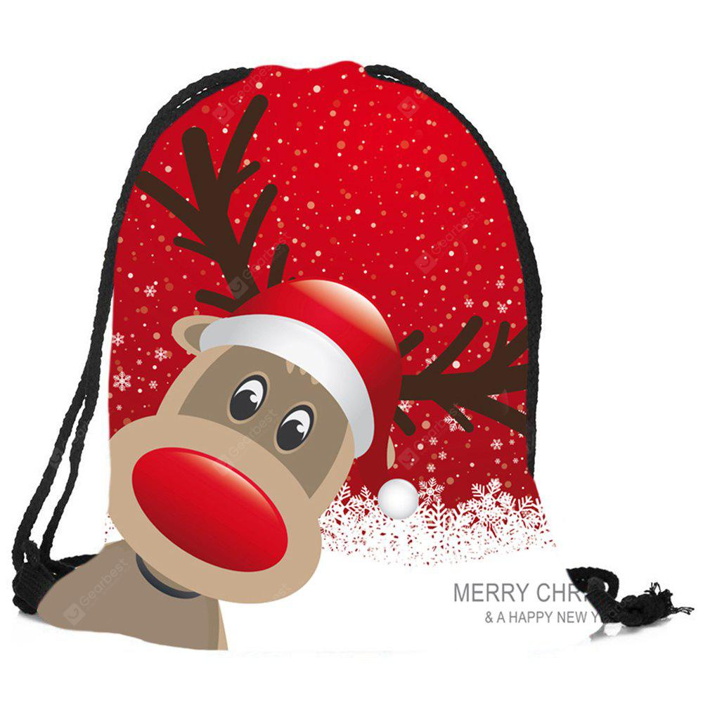 Christmas Deer Pattern Candy Bag Drawstring Backpack
