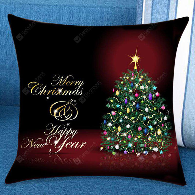 Happy New Year Christmas Tree Pattern Pillow Case