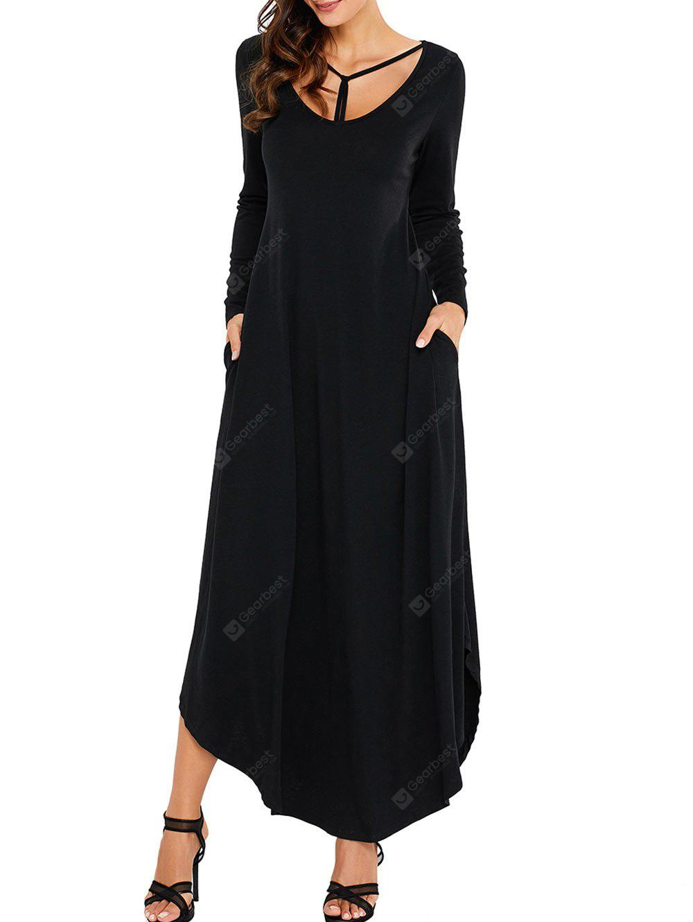 Long Sleeve Scoop Neck Ankle Length Dress