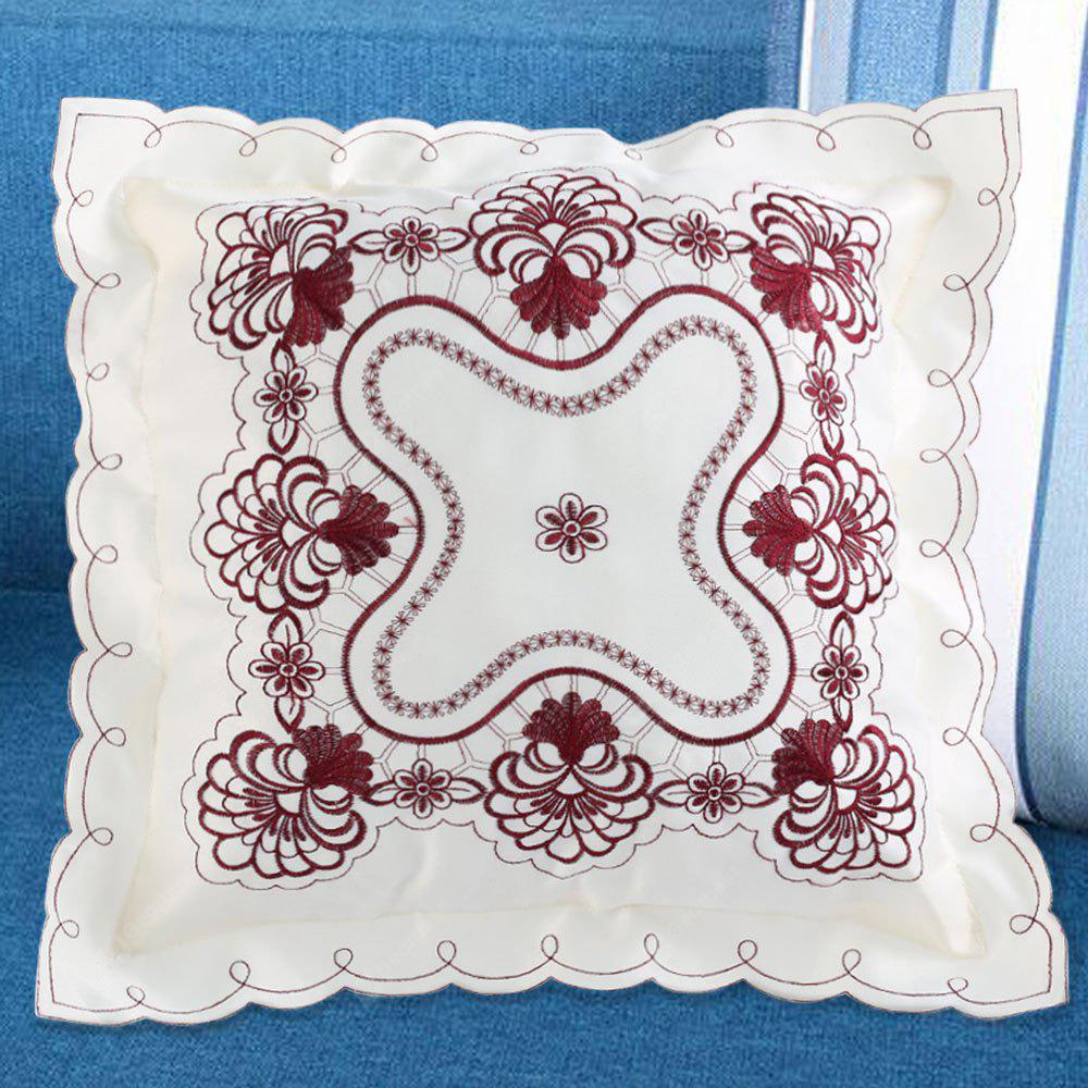 Polyester Embroidered Decorative Throw Pillowcase