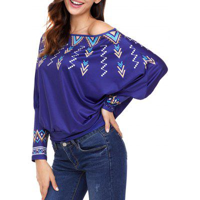 Print Convertible Collar Dolman Sleeve Blouse