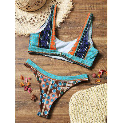 Colorful Printed High Cut Thong Bikini SetLingerie &amp; Shapewear<br>Colorful Printed High Cut Thong Bikini Set<br><br>Bra Style: Padded<br>Elasticity: Elastic<br>Gender: For Women<br>Material: Nylon, Spandex<br>Neckline: U Neck<br>Package Contents: 1 x Bra  1 x Briefs<br>Pattern Type: Print<br>Support Type: Wire Free<br>Swimwear Type: Bikini<br>Waist: Natural<br>Weight: 0.2000kg