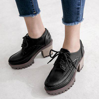 Chunky Heel Lace Up PumpsWomens Pumps<br>Chunky Heel Lace Up Pumps<br><br>Heel Height: 8CM<br>Heel Height Range: High(3-3.99)<br>Heel Type: Chunky Heel<br>Occasion: Casual<br>Package Contents: 1 x Pumps (pair)<br>Platform Height: 3CM<br>Pumps Type: Basic<br>Season: Spring/Fall, Winter<br>Shoe Width: Medium(B/M)<br>Toe Shape: Round Toe<br>Toe Style: Closed Toe<br>Upper Material: PU<br>Weight: 1.3800kg