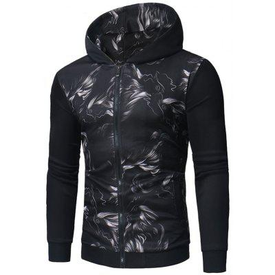 Abstract Print Zip Up Hoodie