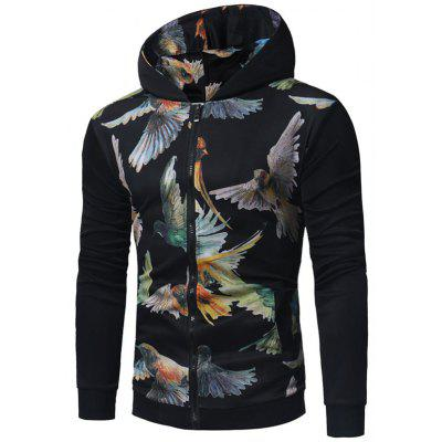Birds Print Zip Up Hoodie