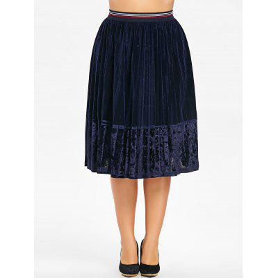 Plus Size Velvet Pleated SkirtPlus Size<br>Plus Size Velvet Pleated Skirt<br><br>Length: Knee-Length<br>Material: Polyester<br>Package Contents: 1 x Skirt<br>Pattern Type: Solid<br>Season: Fall, Winter<br>Silhouette: A-Line<br>Weight: 0.4600kg<br>With Belt: No