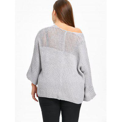 Фото Plus Size Batwing Sleeve Chunky Sweater. Купить в РФ
