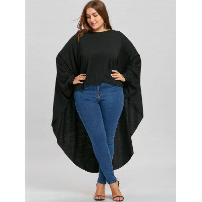 Plus Size Batwing Sleeve Long High Low T-shirtPlus Size Tops<br>Plus Size Batwing Sleeve Long High Low T-shirt<br><br>Collar: Round Neck<br>Elasticity: Elastic<br>Material: Polyester, Spandex<br>Package Contents: 1 x T-shirt<br>Pattern Type: Solid<br>Season: Fall, Winter, Spring<br>Shirt Length: Long<br>Sleeve Length: Full<br>Sleeve Type: Batwing Sleeve<br>Style: Fashion<br>Weight: 0.4400kg