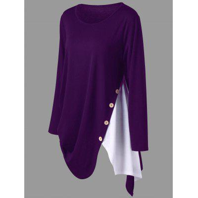 Plus Size Two Tone Asymmetric T-shirtPlus Size Tops<br>Plus Size Two Tone Asymmetric T-shirt<br><br>Collar: Round Neck<br>Embellishment: Button<br>Material: Polyester, Spandex<br>Package Contents: 1 x T-shirt<br>Pattern Type: Solid<br>Season: Spring, Fall<br>Shirt Length: Long<br>Sleeve Length: Full<br>Style: Casual<br>Weight: 0.3400kg