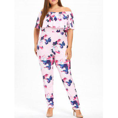 Floral Plus Size Flounce Off The Shoulder Jumpsuit