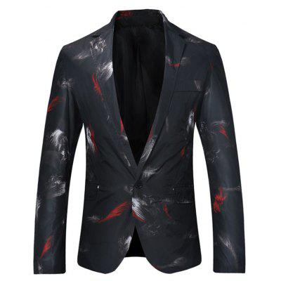 One Button Feather Print Lightweight Blazer