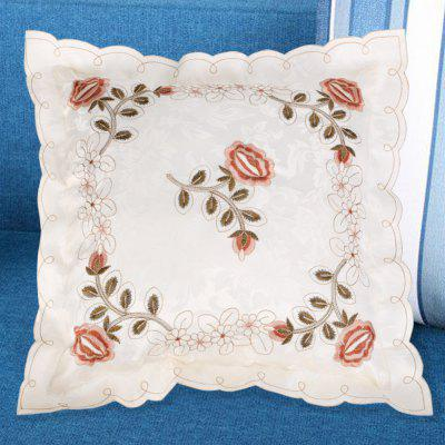 Embroidered Polyester Decorative Throw Pillowcase