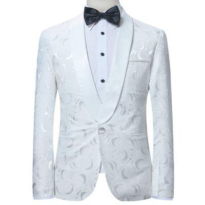 One Button Shawl Collar Jacquard Blazer