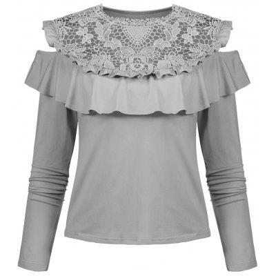 Hollow Out Ruffle Open Shoulder Blouse