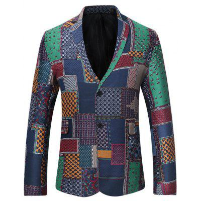 Single Breasted Patchwork Linen Blazer