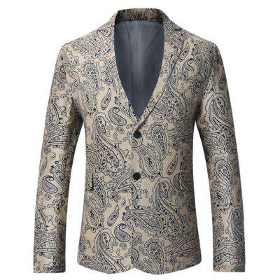 Single Breasted Paisley Print Linen Blazer