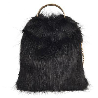 Faux Fur Handbag With Chain
