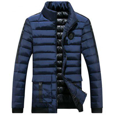 Chest Patched Zip Up Puffer Jacket