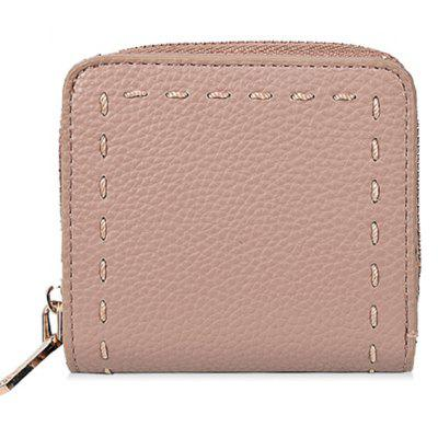 Whipstitch Zip Around PU Leather Wallet