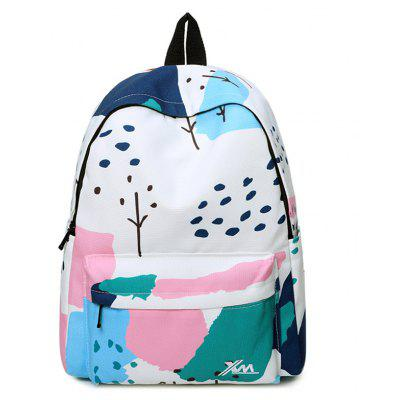 Print Patchwork Portable Backpack