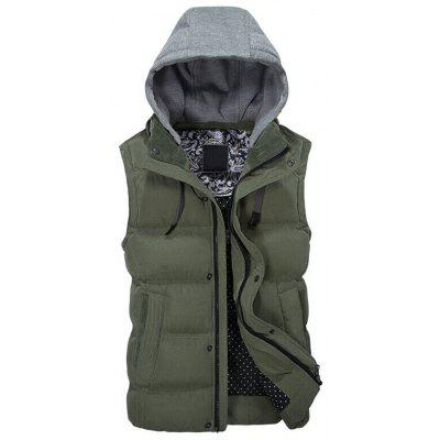 Contrast Hood Zip Up Warm Padded Vest