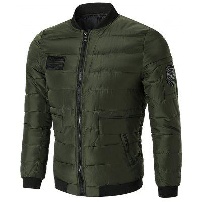 Zip Up Puffer Jacket with Patches