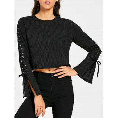 Lace Up Long Sleeve Ribbed Crop Top