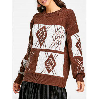 Oversized Crew Neck Argyle Tunic Sweater