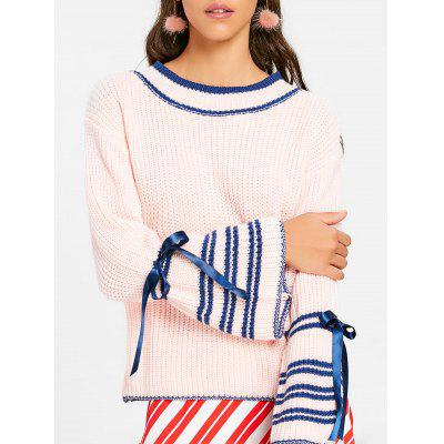 Crew Neck Bell Sleeve Stripe Chunky Sweater