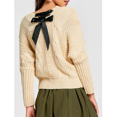 Crew Neck Lace Up Cable Knit Sweater