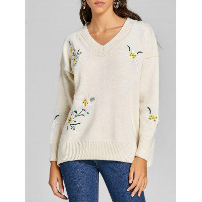 Floral Embroidered V Neck Tunic Sweater
