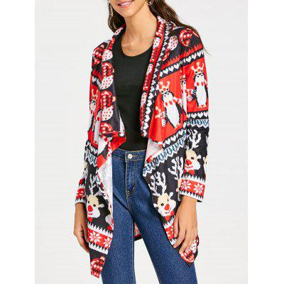 Shawl Collar Open Front Christmas Tunic Cardigan