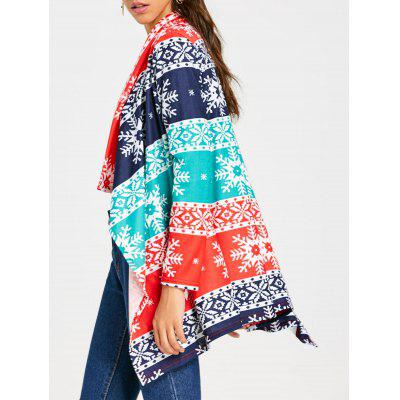 Christmas Snowflake Print Draped Tunic Cardigan