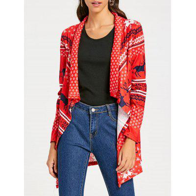 Open Front Tunic Christmas Cardigan