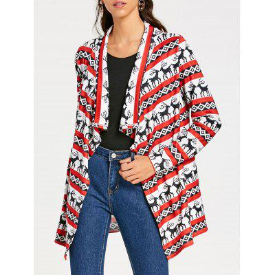 Christmas Shawl Collar Elk Print Tunic Cardigan