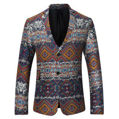 Single Breasted Tribal Print Linen Blazer