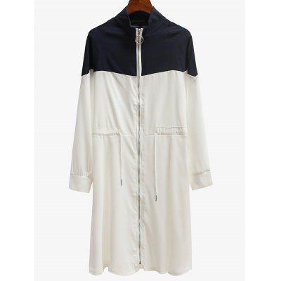 Zippered Contrast Trench Coat