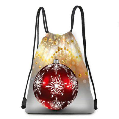 Christmas Bauble Pattern Candy Bag Drawstring Backpack