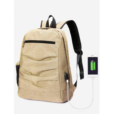 Buy KHAKI Ruched USB Charging Port Backpack for $25.24 in GearBest store