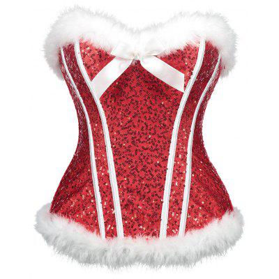 Christmas Sequined Feathers Trim Corset