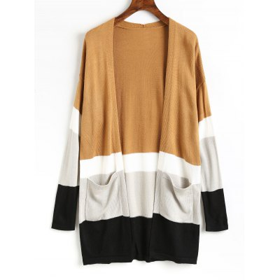 Knit Color Block Open Front Cardigan