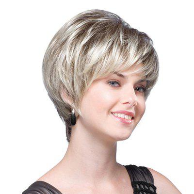 Short Inclined Bang Colormix Fluffy Layered Straight Synthetic Wig fashion tilt design inclined bang short straight auburn women s synthetic wig