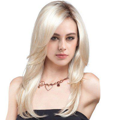 Long Side Parting Colormix Layered Straight Synthetic Wig