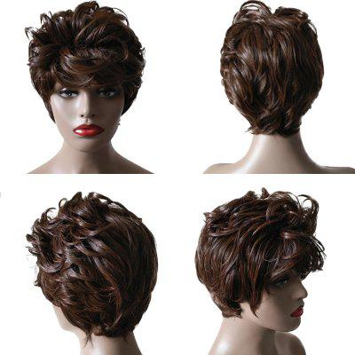 Short Side Bang Fluffy Layered Slightly Curly Synthetic Wig
