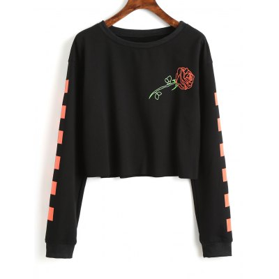 Rose Contrasting Square Cropped Sweatshirt