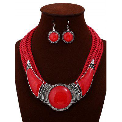 Faux Gem Braid Statement Necklace and Earrings